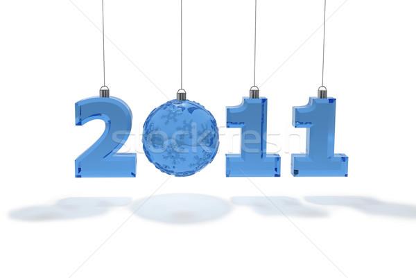 2011 numery nowy rok dekoracji szkła niebieski Zdjęcia stock © mike_kiev