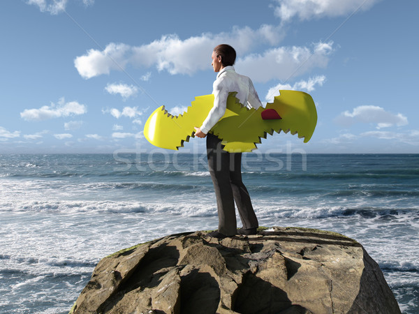 businessman escaped from shark attacks  Stock photo © mike_kiev
