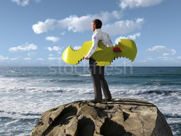 бизнесмен акула небе путешествия каменные волна Сток-фото © mike_kiev