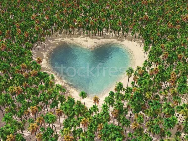 Göl orman ağaç güzellik palmiye dalga Stok fotoğraf © mike_kiev