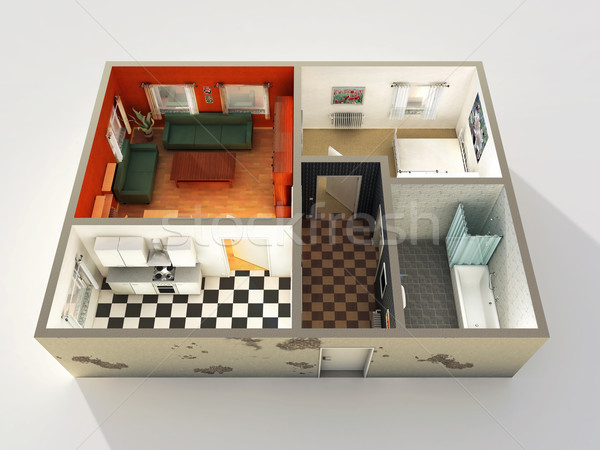 Maison 3D design construction chambre meubles Photo stock © mike_kiev