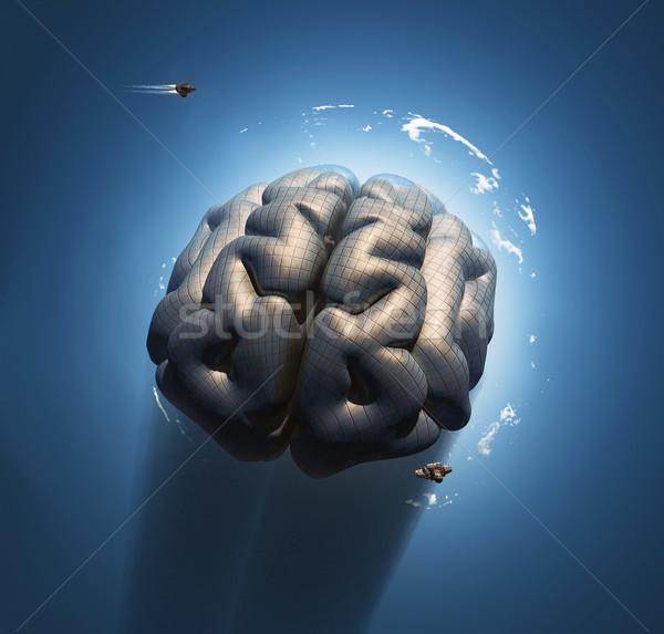 как мозг пространстве бизнеса компьютер небе Сток-фото © mike_kiev