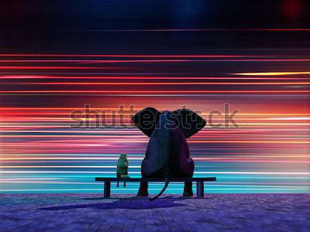 elephant and dog sitting on a roadside Stock photo © mike_kiev