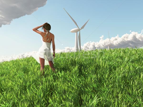 ветровой турбины женщину небе красоту энергии Сток-фото © mike_kiev