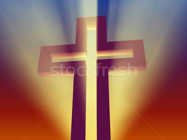 cross in ray of light Stock photo © mike_kiev