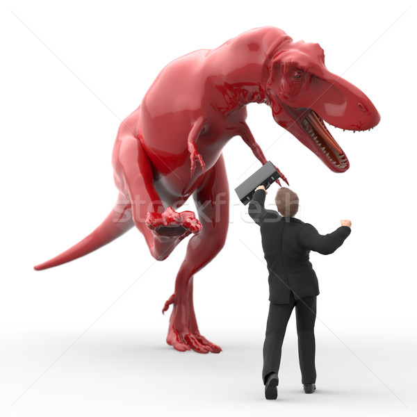brave businessman fighting against the dinosaur Stock photo © mike_kiev
