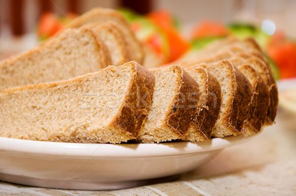 パン スライス プレート ディナー マクロ 健康 ストックフォト © mikhail_ulyannik