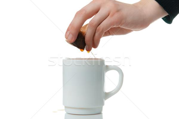 手 外に 茶 袋 マグ 白 ストックフォト © mikhail_ulyannik