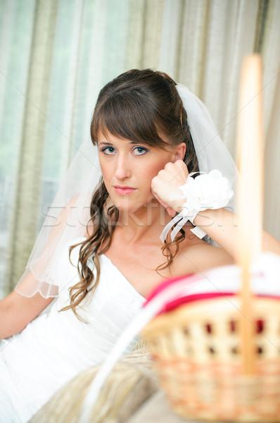 沈痛 花嫁 白いドレス 見える カメラ 結婚式 ストックフォト © mikhail_ulyannik