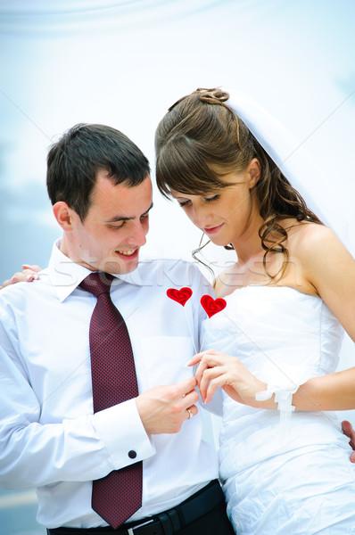 ストックフォト: 結婚式 · カップル · 見える · 赤 · 装飾的な · 中心