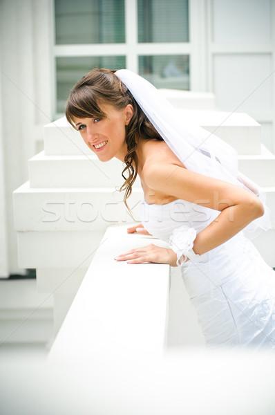 美しい 笑顔 花嫁 ベール 白 建物 ストックフォト © mikhail_ulyannik