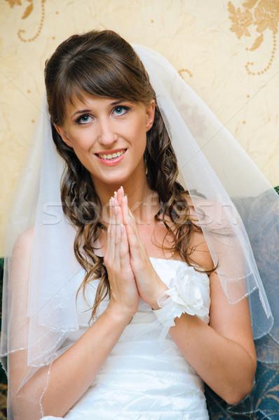 祈る 花嫁 白 ウェディングドレス 祈り 笑顔 ストックフォト © mikhail_ulyannik