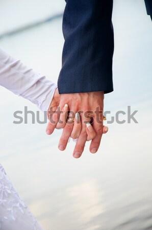 Kéz kezek demonstráció szeretet esküvő pár Stock fotó © mikhail_ulyannik