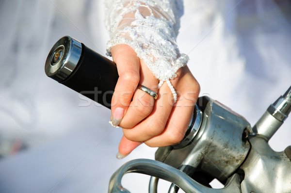 Stock photo: Hand of the bride on a motorcycle