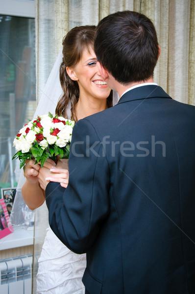新郎 花嫁 結婚式のブーケ ルックス 笑顔 結婚式 ストックフォト © mikhail_ulyannik