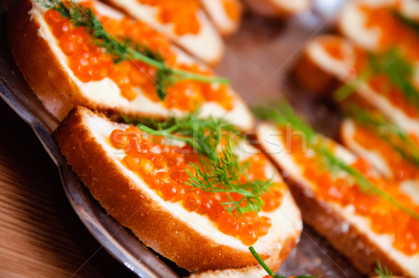 caviar on a bread Stock photo © mikhail_ulyannik