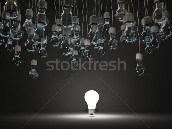 Stok fotoğraf: Parlak · ampul · siyah · teknoloji · enerji · elektrik