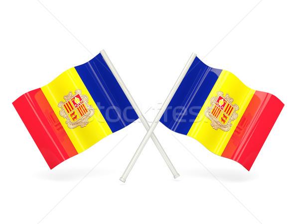 Vlag Andorra twee golvend vlaggen geïsoleerd Stockfoto © MikhailMishchenko