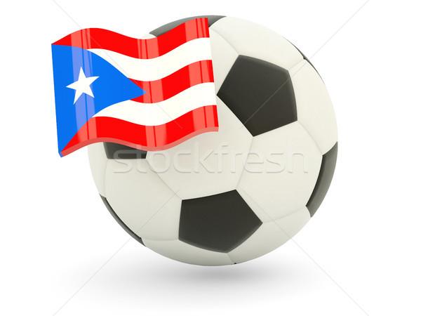 Voetbal vlag Puerto Rico geïsoleerd witte sport Stockfoto © MikhailMishchenko