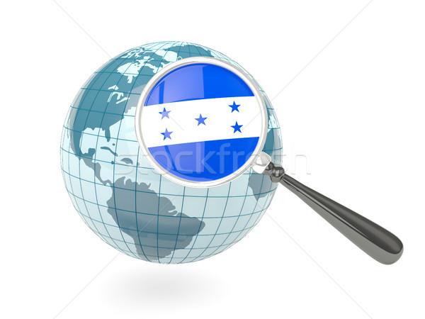 Stock fotó: Nagyított · zászló · Honduras · kék · földgömb · izolált