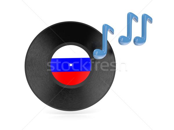 Vinyl schijf vlag Rusland geïsoleerd witte Stockfoto © MikhailMishchenko