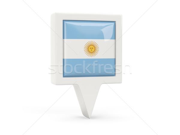 Carré pavillon icône Argentine isolé blanche Photo stock © MikhailMishchenko