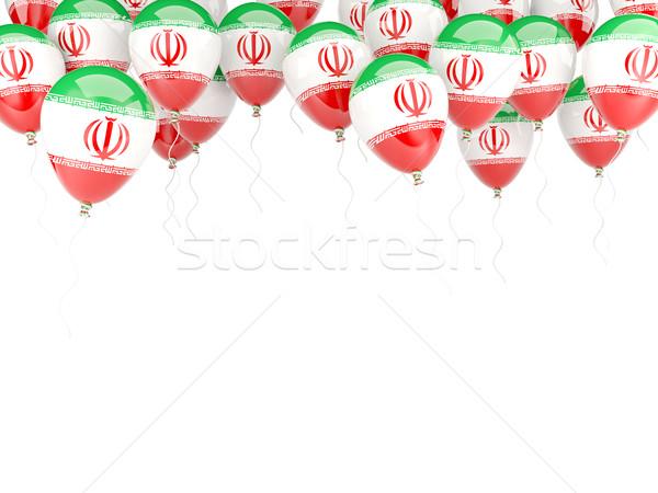 Balão quadro bandeira Irã isolado branco Foto stock © MikhailMishchenko