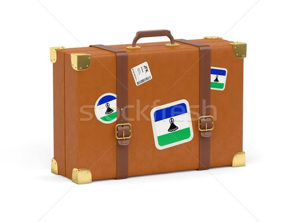 Walizkę banderą Lesotho podróży odizolowany biały Zdjęcia stock © MikhailMishchenko