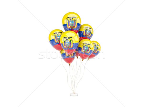Uçan balonlar bayrak Ekvador yalıtılmış beyaz Stok fotoğraf © MikhailMishchenko