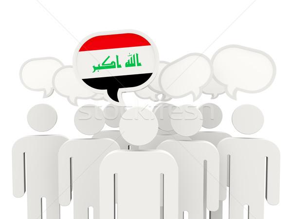 Pessoas bandeira Iraque isolado branco reunião Foto stock © MikhailMishchenko