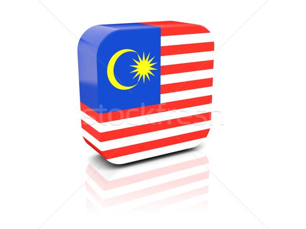 Praça ícone bandeira Malásia reflexão branco Foto stock © MikhailMishchenko