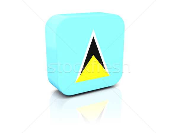 Square icon with flag of saint lucia Stock photo © MikhailMishchenko