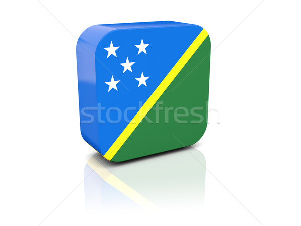 Piazza icona bandiera Isole Salomone riflessione bianco Foto d'archivio © MikhailMishchenko