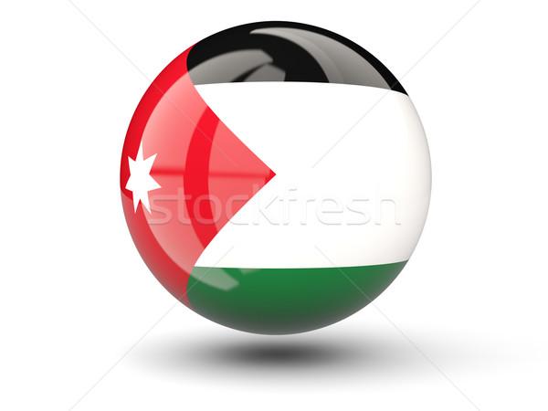 Ikona banderą Jordania odizolowany biały podróży Zdjęcia stock © MikhailMishchenko