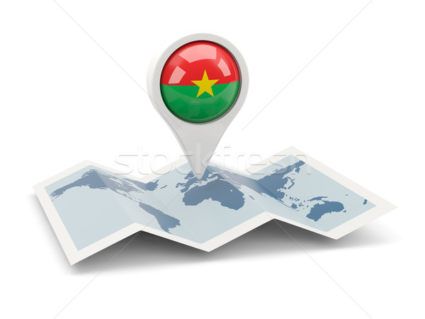 Round pin with flag of burkina faso Stock photo © MikhailMishchenko