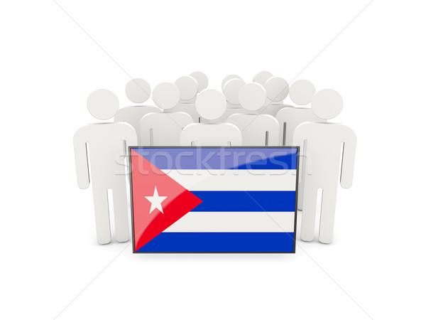 люди флаг Куба изолированный белый толпа Сток-фото © MikhailMishchenko