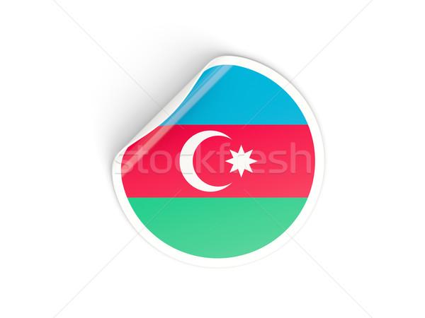 Etiqueta bandera Azerbaiyán aislado blanco viaje Foto stock © MikhailMishchenko