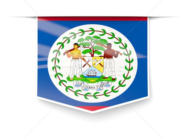 Tér címke zászló Belize izolált fehér Stock fotó © MikhailMishchenko