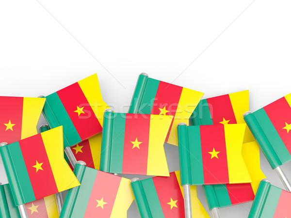 флаг Pin Камерун изолированный белый фон Сток-фото © MikhailMishchenko