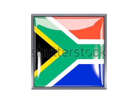 Square metal button with flag of south africa Stock photo © MikhailMishchenko