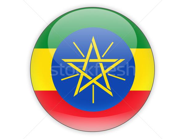 Stockfoto: Icon · vlag · Ethiopië · geïsoleerd · witte · reizen
