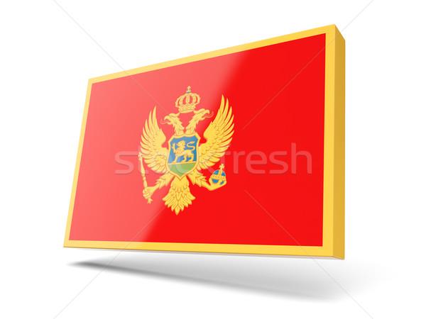 Сток-фото: квадратный · икона · флаг · Черногория · изолированный · белый