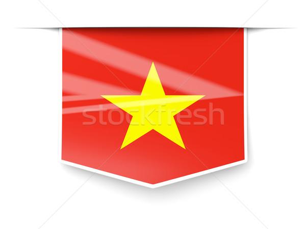 Carré étiquette pavillon Viêt-Nam isolé blanche Photo stock © MikhailMishchenko