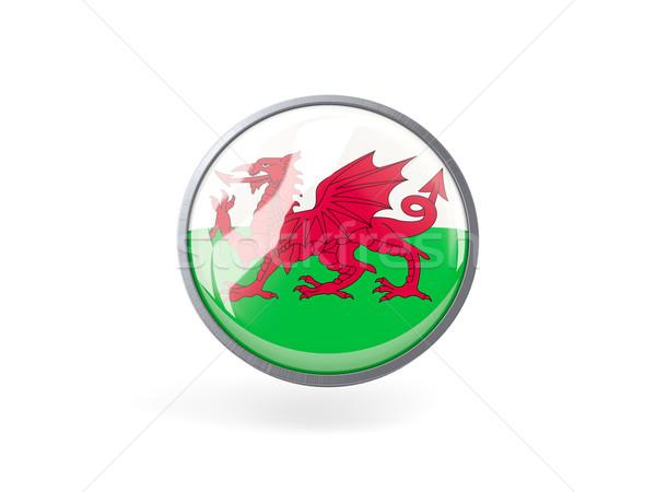 Ikon zászló Wales fém keret utazás Stock fotó © MikhailMishchenko