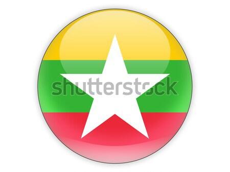 Ikon zászló Myanmar fényes felirat fehér Stock fotó © MikhailMishchenko
