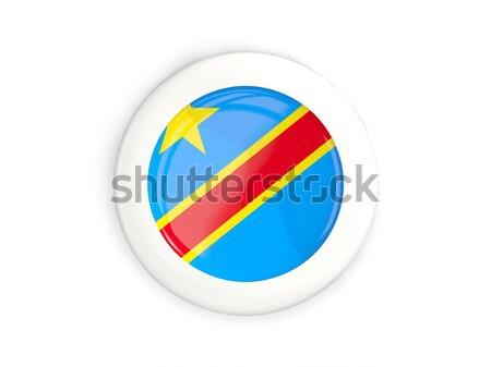 Etiqueta bandera república Congo aislado blanco Foto stock © MikhailMishchenko