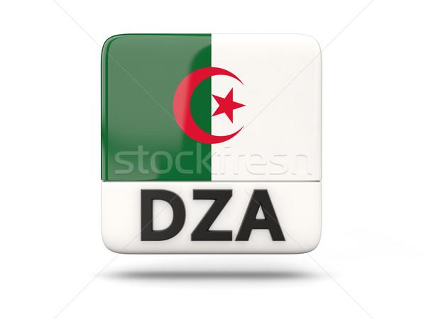Stockfoto: Vierkante · icon · vlag · Algerije · iso · code
