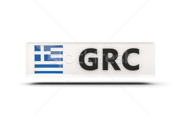 Carré icône pavillon Grèce iso code Photo stock © MikhailMishchenko