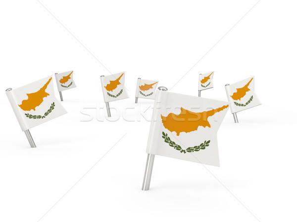 Piazza bandiera Cipro isolato bianco paese Foto d'archivio © MikhailMishchenko