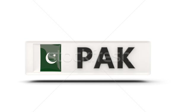 Kare ikon bayrak Pakistan iso kod Stok fotoğraf © MikhailMishchenko